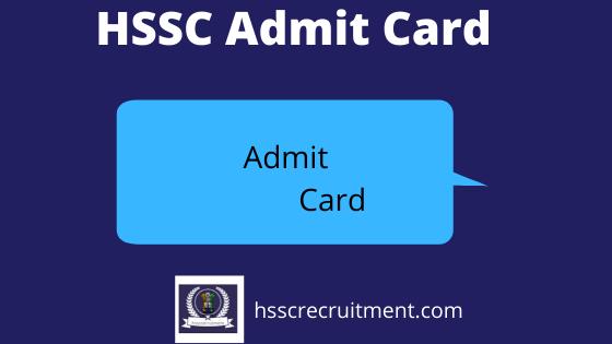HSSC Exam Admit Card
